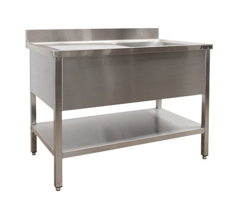 Saro Stainless Steel Sink + Bottom Shelf | Splash surround | Sink Right | Welded model 600mm Deep | Available in 6 lengths