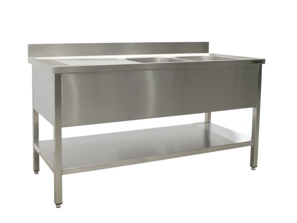 Saro Stainless Steel Sink + Bottom Shelf | Splash surround | 2 sinks, right | Welded model 600mm Deep | Available in 5 Lengths