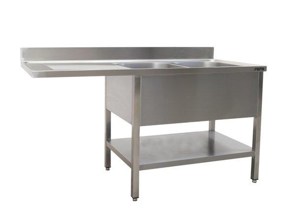 Saro Stainless Steel Sink + Bottom Shelf | Splash surround | 2 sinks, right | Floating Worksheet | Welded Model 600mm Deep | Available in 3 Lengths