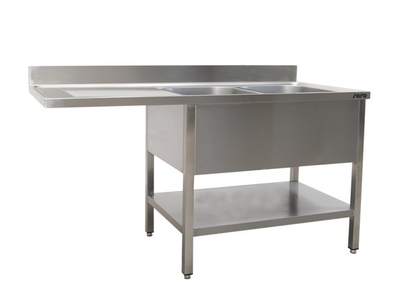 Saro Stainless Steel Sink + Bottom Shelf   Splash surround   2 sinks, right   Floating Worksheet   Welded Model 700mm Deep   Available in 3 Lengths