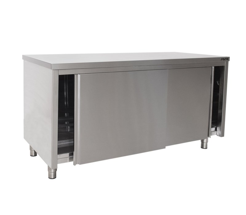 Saro Stainless Steel Work Cabinet With Sliding Doors 600mm Deep   Welded Model Available in 6 lengths