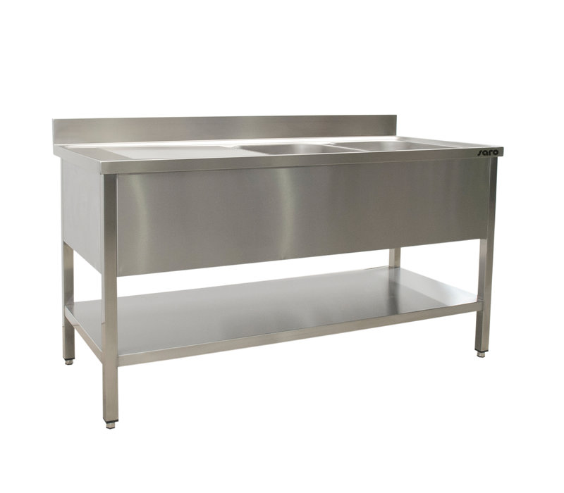 Saro Stainless Steel Sink + Bottom Shelf | Splash surround | 2 Sinks Left | Welded model 600mm Deep | Available in 5 Lengths