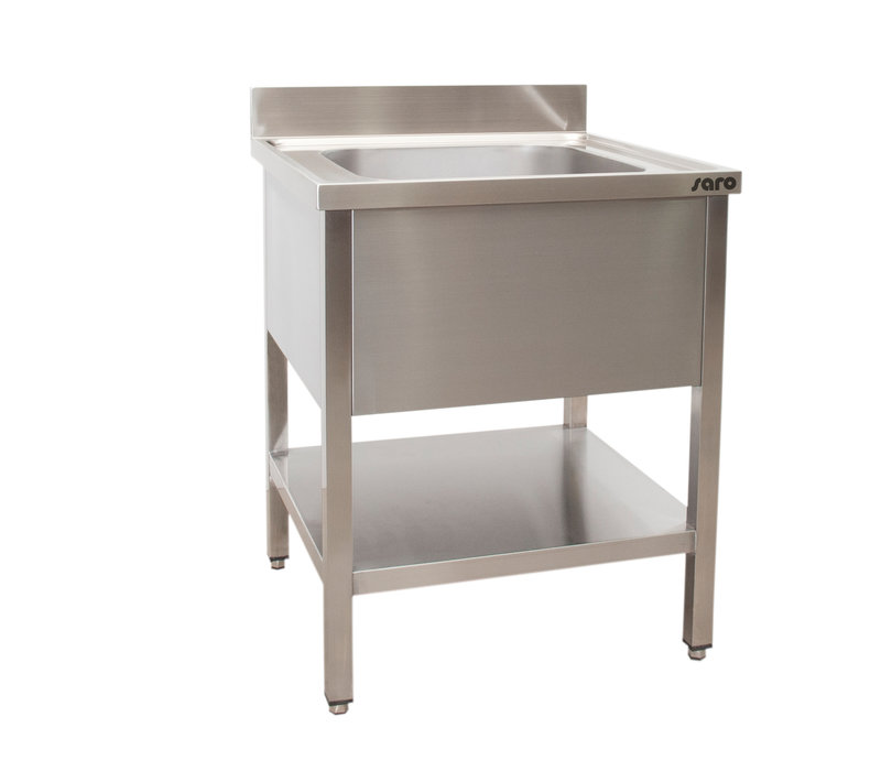 Saro Stainless Steel Sink + Bottom Shelf | Splash surround | Central sink Welded Model 700x700x (H) 850mm