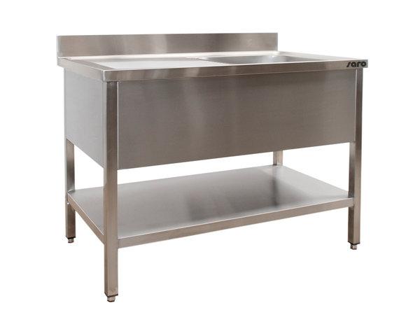 Saro Stainless Steel Sink + Bottom Shelf | Splash surround | Sink Left | Welded model 700mm Deep | Available in 6 lengths