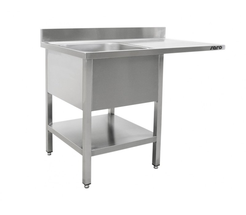 Saro Stainless Steel Sink + Bottom Shelf | Splash surround | Sink Left | Floating Worksheet | Welded Model 600mm Deep | Available in 2 lengths