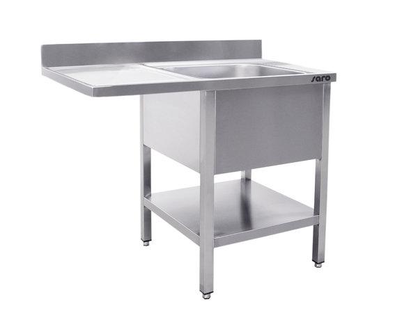 Saro Stainless Steel Sink + Bottom Shelf   Splash surround   Sink Right   Floating Worksheet   Welded Model 700mm Deep   Available in 2 lengths