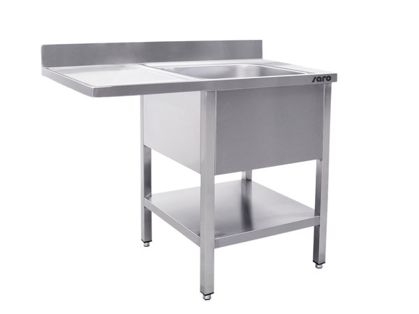 Saro Stainless Steel Sink + Bottom Shelf | Splash surround | Sink Right | Floating Worksheet | Welded Model 600mm Deep | Available in 2 lengths