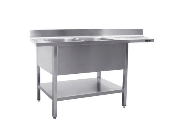 Saro Stainless Steel Sink + Bottom Shelf   Splash surround   2 Sinks Left   Floating Worksheet   Welded Model 600mm Deep   Available in 3 Lengths