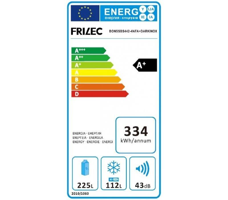 Frilec Amerikaanse Koel/Vrieskast Zwart | BONNSBS442-4NFA+DARK | 225/112 Liter | 790x620x(H)1800mm