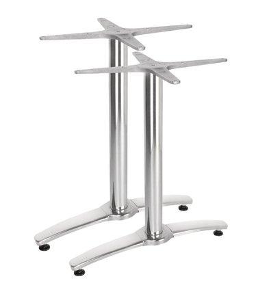 Bolero Dubbele Tafelpoot Aluminium - Universeel - Hoog 68cm - tafelbladen tot 700x1100mm