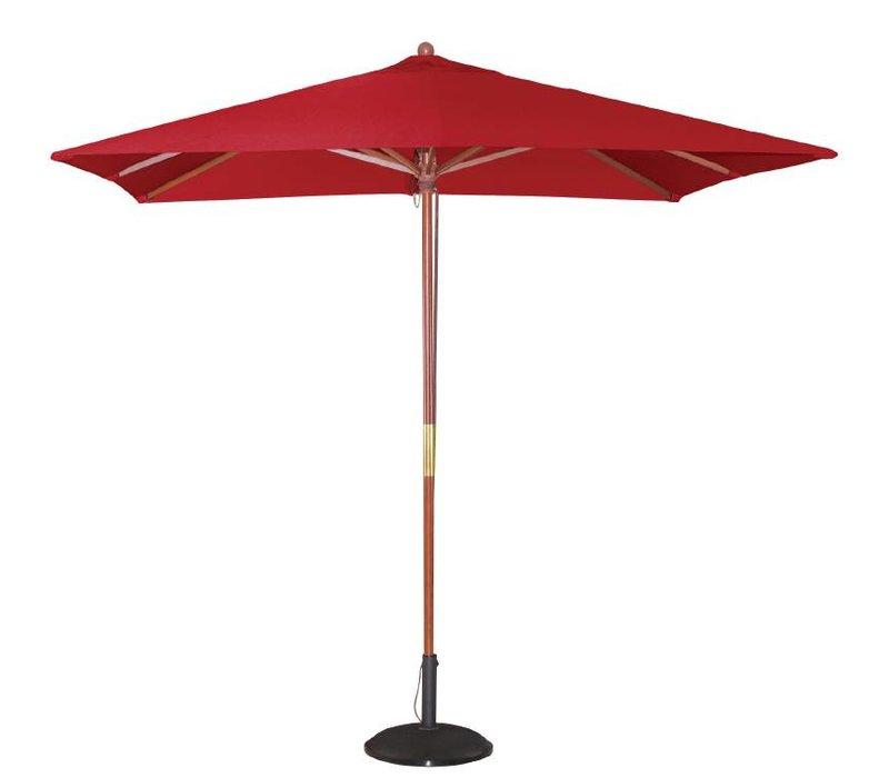 Bolero Parasol Vierkant met Katrolmechanisme - Kleur Rood - 2,5 meter Ø