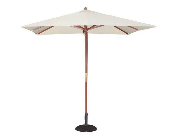 Bolero Parasol Vierkant met Katrolmechanisme - Kleur Creme - 2,5 meter Ø