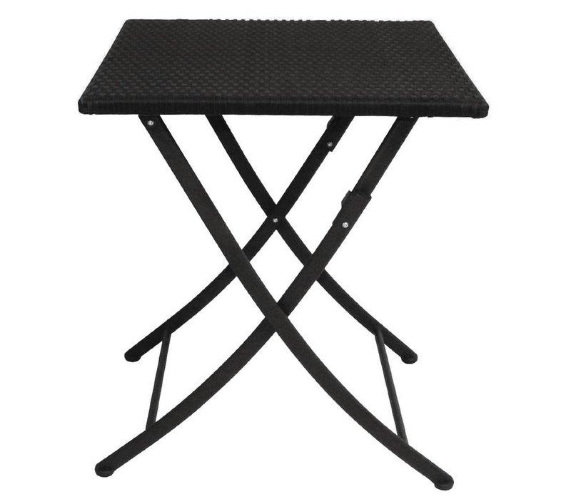 Bolero Opklapbare Vierkante Rotan Weersbestendige Tafel - 71(h)x60x60cm