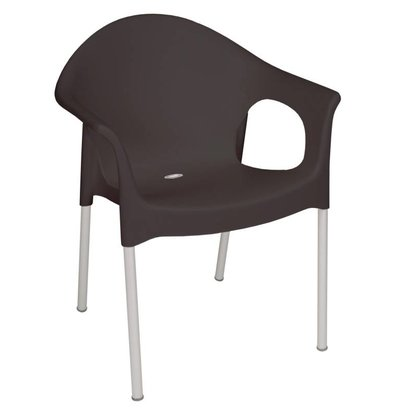 Bolero Stackable Chair with Armrest - Strong Plastic - Black - Price per 4 pieces