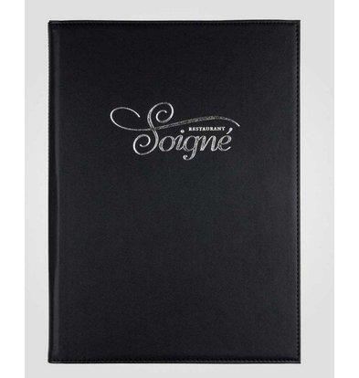 XXLselect Simi-leather menu folder - High-quality leatherette - black A4 - 3 Read Pages