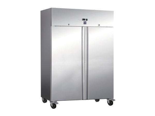 XXLselect Horeca Refrigerator Stainless Steel Double Door   1200 Liter   2x 2/1 GN   4 Wheels   1340x800x (H) 2010mm