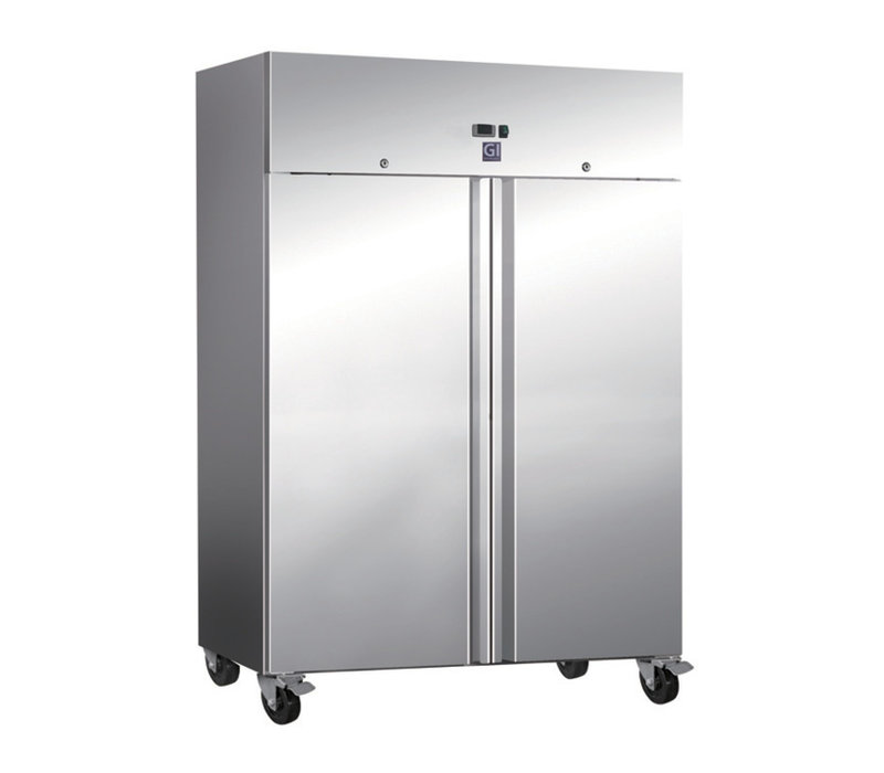 XXLselect Horeca Freezer Stainless Steel Double Door   1200 Liter   2x 2/1 GN   4 Wheels   1340x800x (H) 2010mm