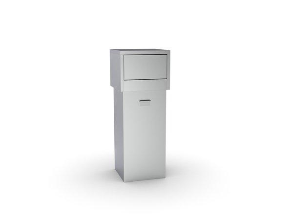 Combisteel Snack bar Stainless steel waste bin 80 Liter | 470x470x (H) 1200mm