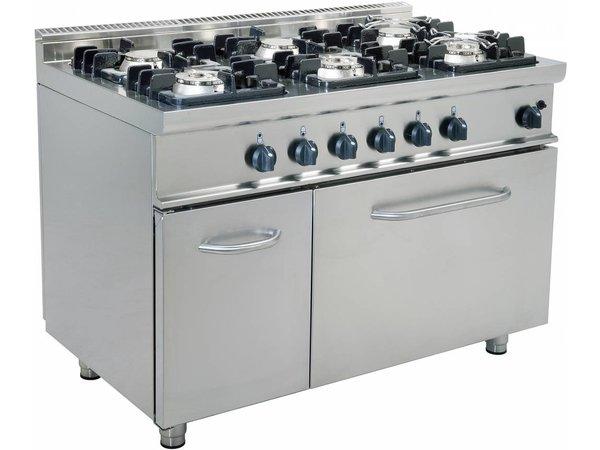 Saro Fornuis Gas 6 Branders met Gas Oven 120 Liter Casta - 3 x 4,5KW + 3 x 7KW
