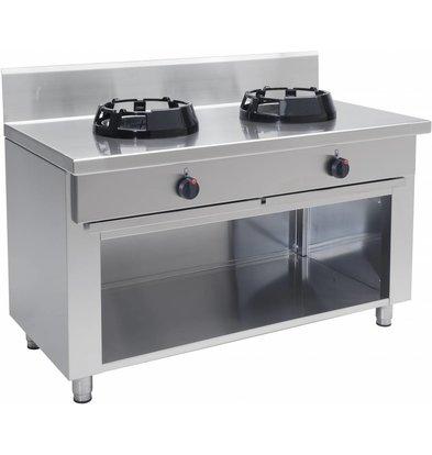 Saro Wok Gas Cooker 2 burners Casta Open Frame - 2 x 14KW