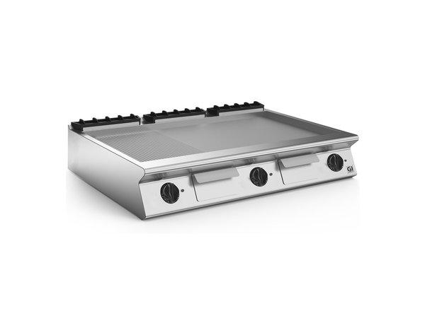 XXLselect 700 HP Elektrische Bak Plaat 2/3 Gladde 1/3 Geribbelde RVS Plaat | 16,2 kW | 1200x730x(H)250mm