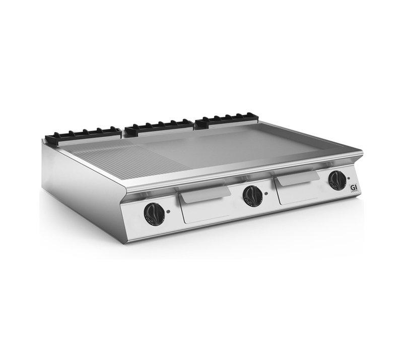XXLselect 700 HP Elektrische Bak Plaat 2/3 Gladde 1/3 Geribbelde Geslepen Stalen Plaat | 16,2 kW | 1200x730x(H)250mm