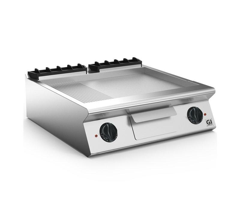 XXLselect 700 HP Elektrische Bakplaat 2/3 Glad 1/3 Geribbelde Geslepen Stalen Plaat | 10,8 kW | 800x730x(H)250mm