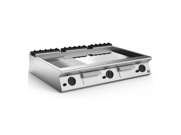 XXLselect 700 HP Gasbakplaat 2/3 Glad 1/3 Geribbelde Verchroomde Plaat | 21 kW | 1200x730x(H)250mm