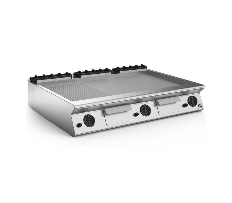 XXLselect 700 HP Gasbakplaat 2/3 Glad 1/3 Geribbelde RVS Plaat | 21 kW | 1200x730x(H)250mm