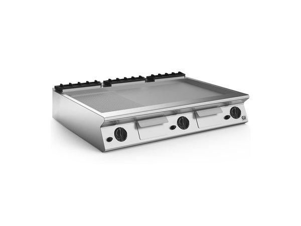 XXLselect 700 HP Gasbakplaat 2/3 Glad 1/3 Geribbelde Geslepen Stalen Plaat | 21 kW | 1200x730x(H)250mm