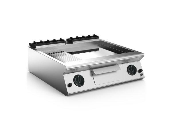 XXLselect 700 HP Gasbakplaat 2/3 Glad 1/3 Geribbelde Verchroomde Plaat | 14 kW | 800x730x(H)250mm