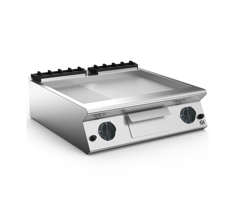 XXLselect 700 HP Gasbakplaat 2/3 Glad 1/3 Geribbelde Geslepen Stalen Plaat | 12 kW | 800x730x(H)250mm