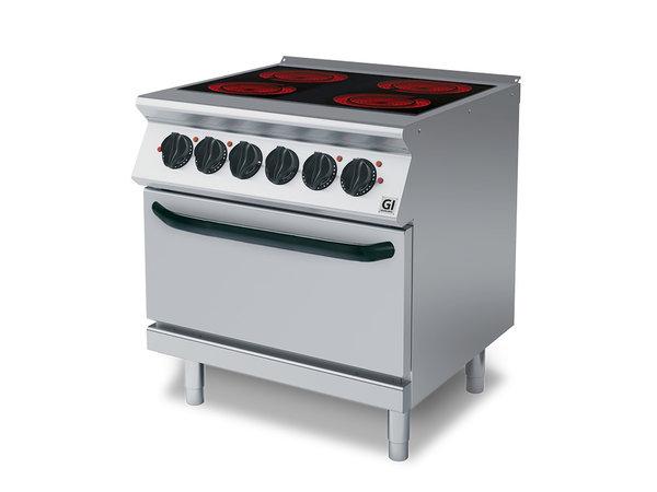 XXLselect 700 HP Keramische Kookplaat | 4 Kookzones + Elektrische Oven | 16 kW / 230V-3N | 800x730x(H)870mm