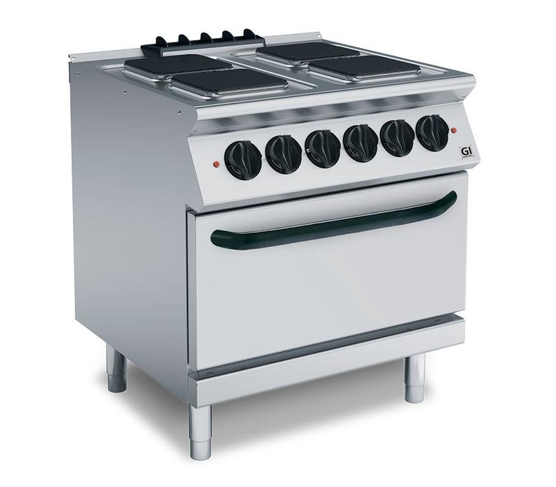 XXLselect 700 HP Kooktoestel 4 Vierkante Kookplaten | GN2/1 Elektrische Oven | 16,4 kW | 800x730x(H)870mm