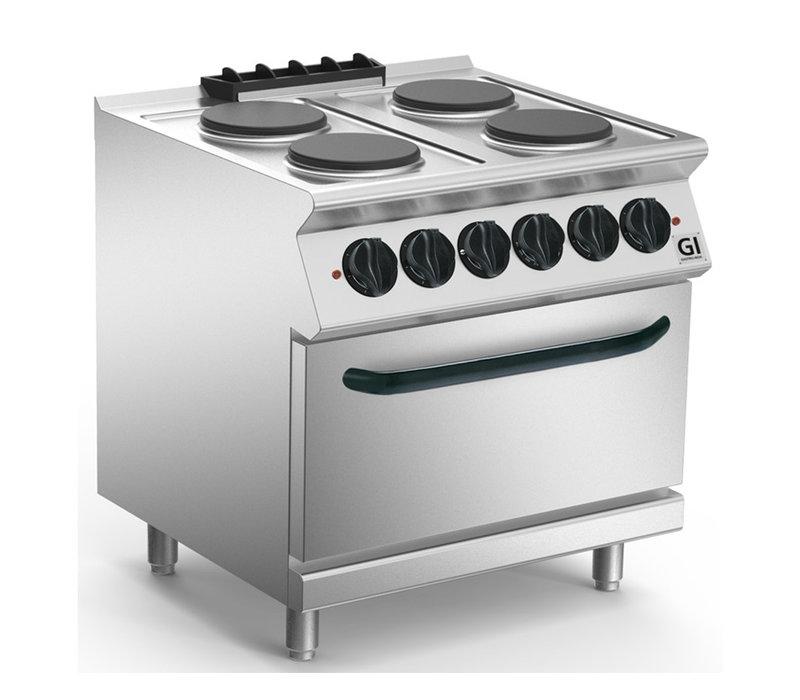 XXLselect 700 HP Kooktoestel 4 Ronde Platen | Elektrische Oven GN1/1 | 14,6 kW | 800x730x(H)870mm