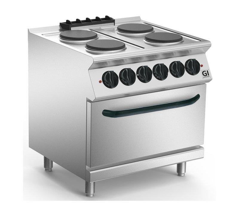 XXLselect 700 HP Kooktoestel 4 Ronde Platen | Elektrische Oven GN2/1 | 16,4 kW | 800x730x(H)870mm