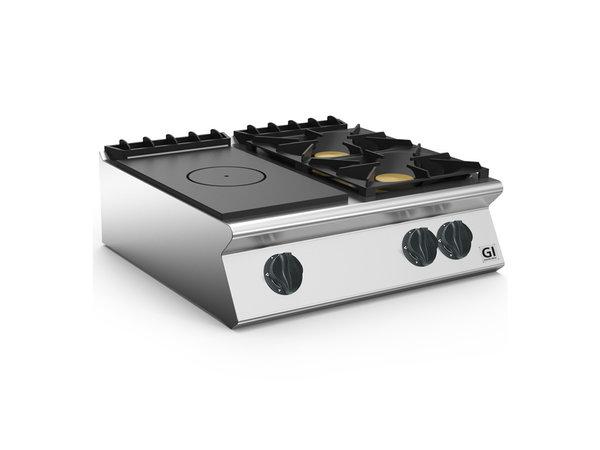 XXLselect 700 HP Gloeiplaat Toestel |Gietijzeren Kookplaaten 2 Branders | 18 kW | 800x730x(H)250mm