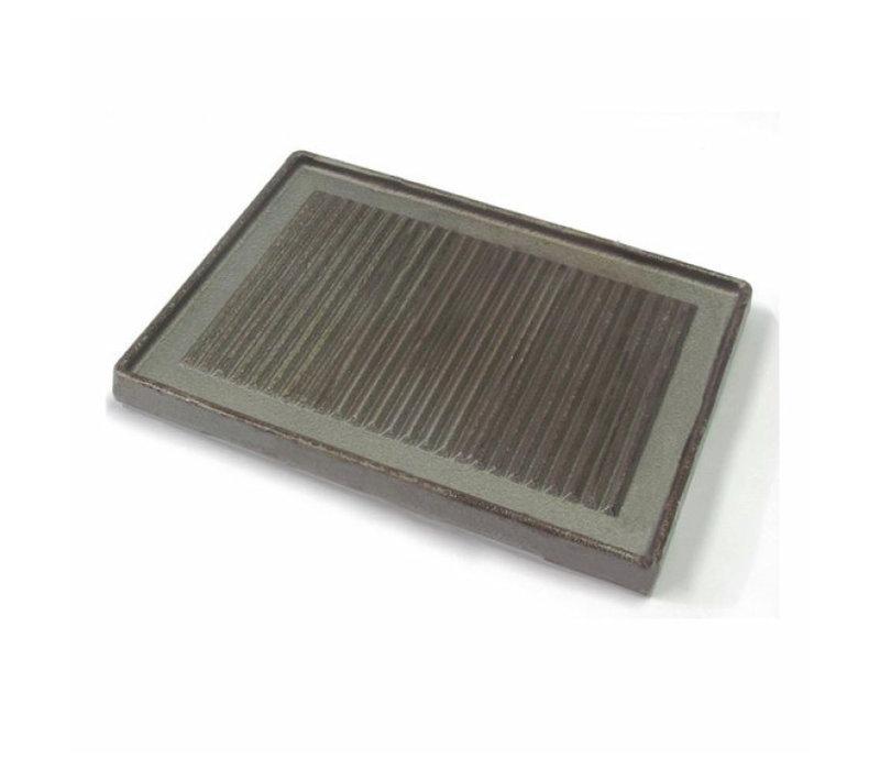XXLselect 700 HP Geribbelde Bakplaat Voor 1 Brander | Gietijzer | 350x350x(H)16mm