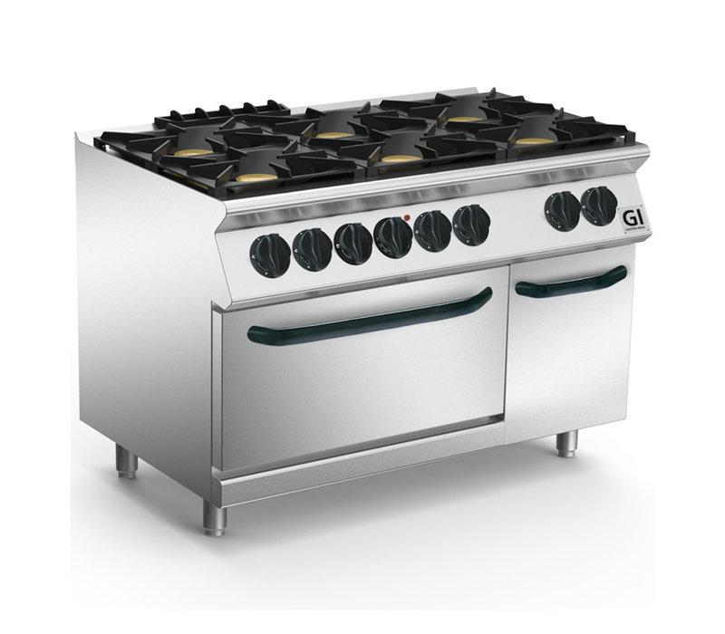 XXLselect 700 HP Gasfornuis 6  Branders Met GN1/1 Elektrische Oven | 6x6 + 1x 4,2 kW | 1200x730x(H)870mm