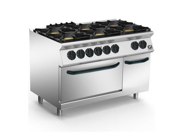 XXLselect 700 HP Gasfornuis 6  Branders Met GN2/1 Elektrische Oven | 4x6 + 1x 4,2 kW | 800x730x(H)870mm