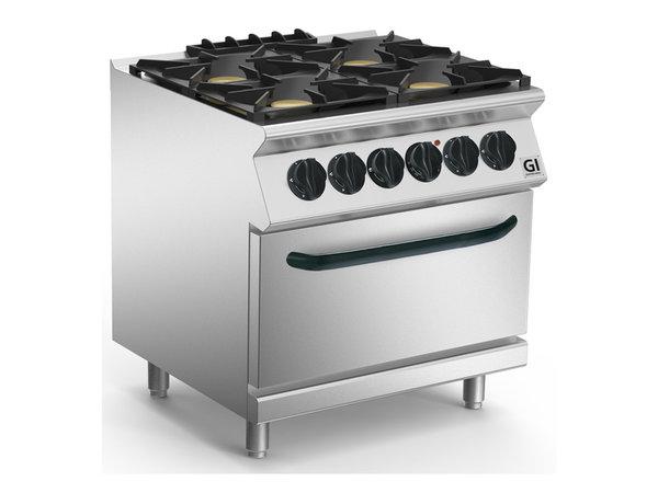 XXLselect 700 HP Gasfornuis 4  Branders Met GN2/1 Elektrische Oven | 4x6 + 6kW | 800x730x(H)870mm