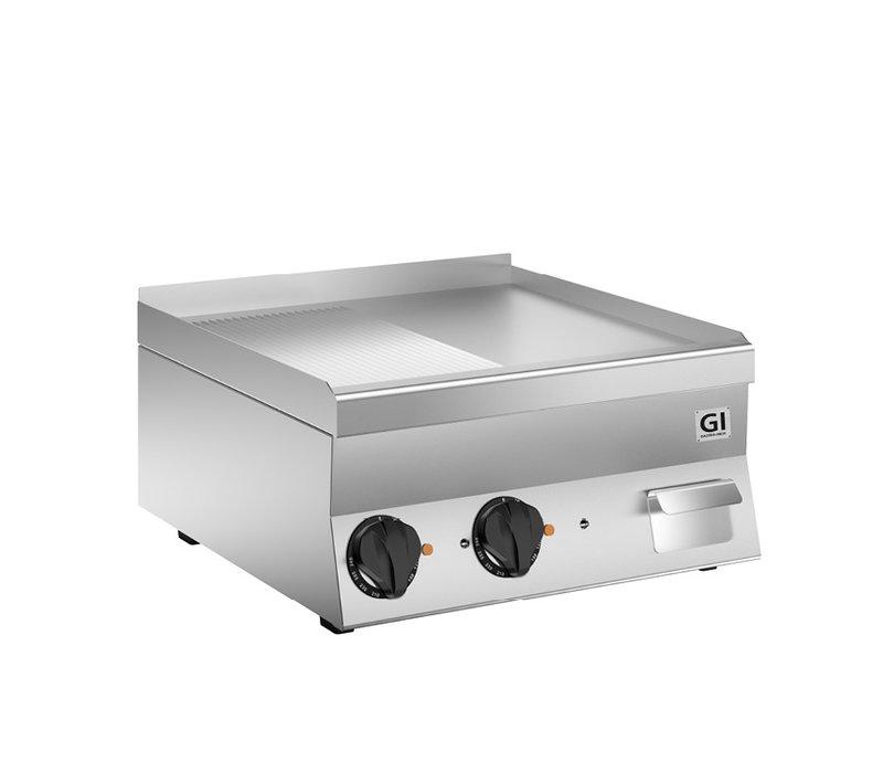 XXLselect 650 HP Elektrische Bakplaat | Halfgladde/Geribbelde Verchroomde Plaat | 400V 7,8 kW | 600x600x(H)295mm