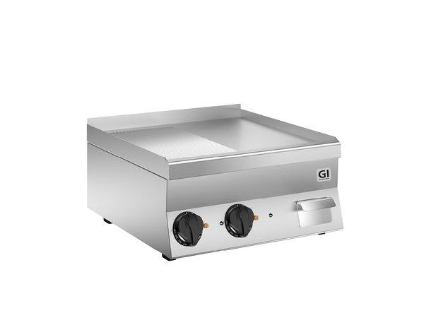 XXLselect 650 HP Elektrische Bakplaat | Halfgladde/Geribbelde Speciaal Stalen Plaat | 400V 7,8 kW | 600x600x(H)295mm