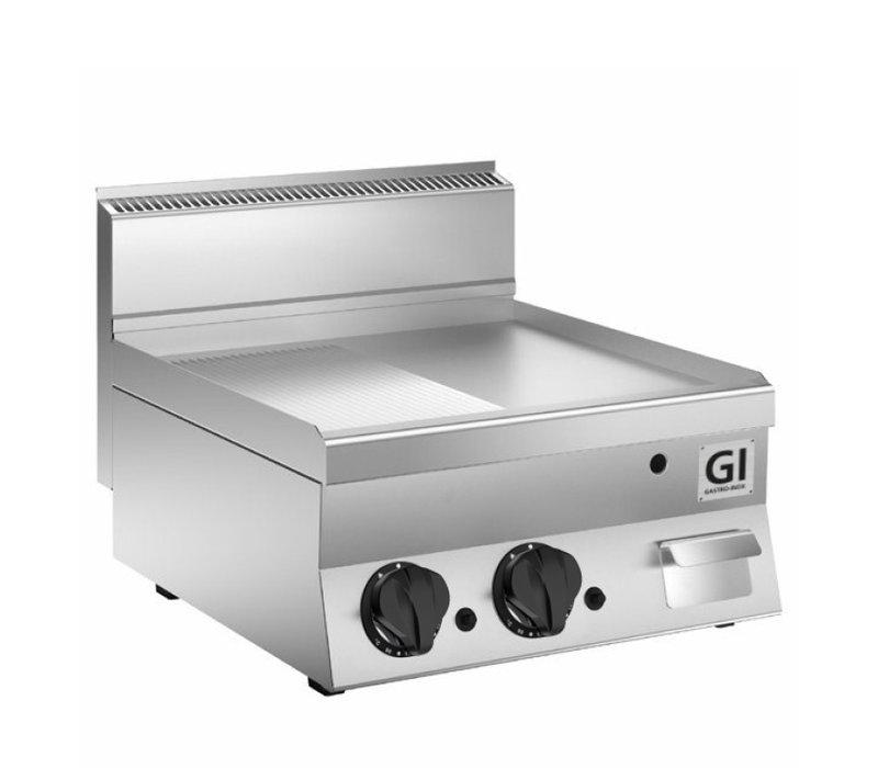 XXLselect 650 HP Gasbakplaat Half Gladde/Geribbelde Roestvrijstalen Plaat | 12,5 kW | 800x650x(H)295mm