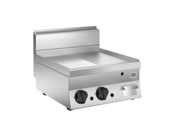 XXLselect 650 HP Gasbakplaat Half Gladde En Half Geribbelde Verchroomde Plaat | 10 kW | 700x650x(H)295mm