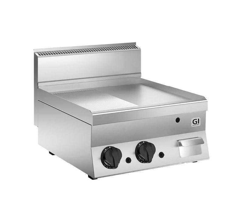XXLselect 650 HP Gasbakplaat Half Gladde En Half Geribbelde RVS Plaat | 10 kW | 700x650x(H)295mm