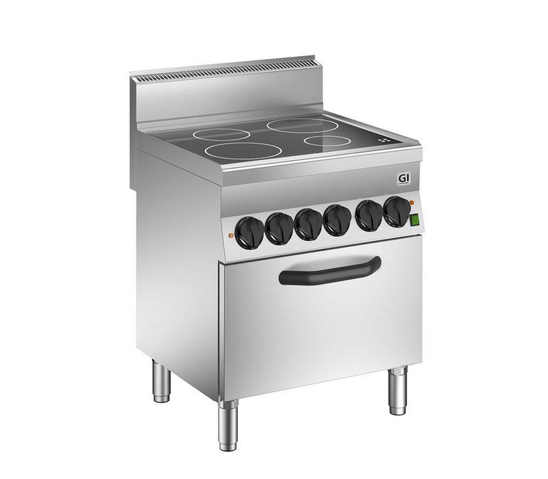 XXLselect 650 HP Keramische Kookplaat | 4 Kookzones + Heteluchtoven 12,2 kW | 700x650x(H)295mm