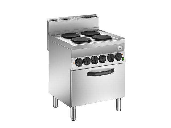 XXLselect 650 HP Kooktoestel | 4 Kookplaten + Heteluchtoven GN1/1 | 12,4 kW | 700x650x(H)870mm