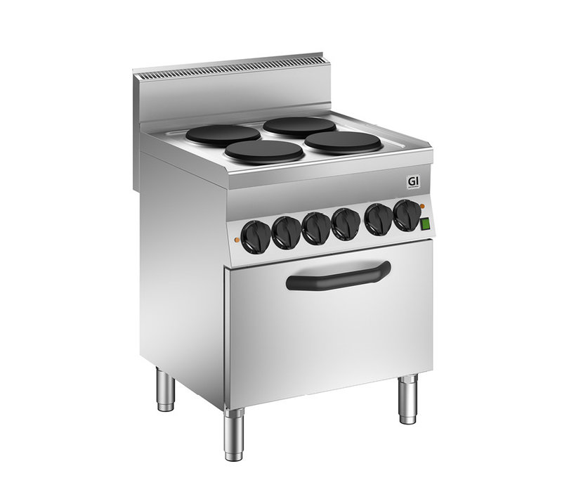 XXLselect 650 HP Kooktoestel | 4 Kookplaten + Elektrische GN1/1 Oven | 14,6 kW | 700x650x(H)870mm