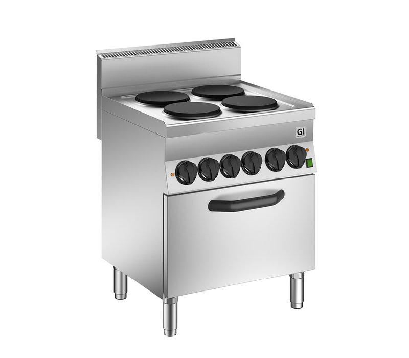 XXLselect 650 HP Kooktoestel | 4 Kookplaten + Elektrische GN1/1 Oven | 12,4 kW | 700x650x(H)870mm